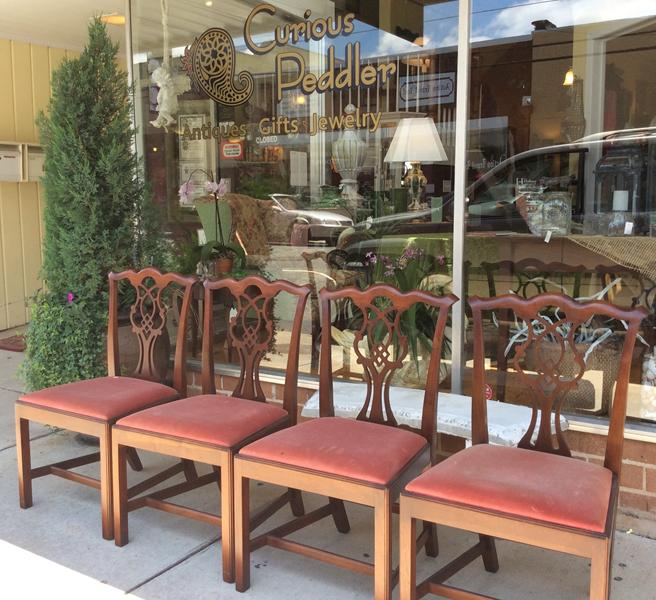 Attractive Set Of Four Craftique Chippendale Chairs In Mellowax Finish