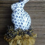 blue and white bunny tassel